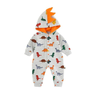 Cartoon Dinosaur Print Rompers for Babies Unisex - Gray rompers / 6-12 months