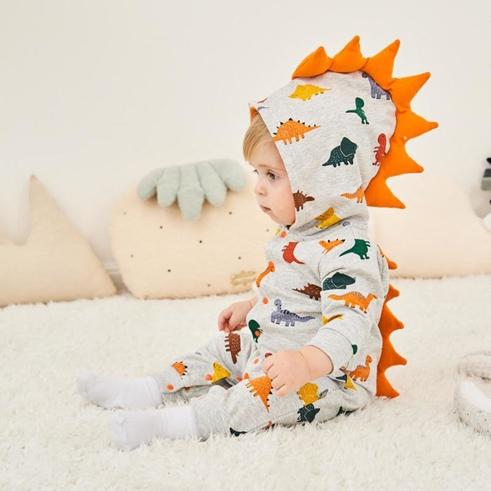 Cartoon Dinosaur Print Rompers for Babies Unisex