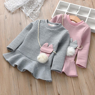 Cartoon Striped Princess Sweatshirt Dress for Girls