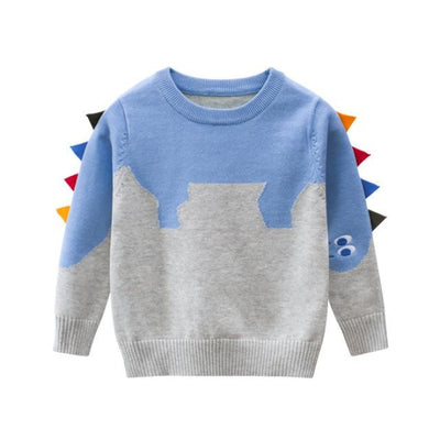 Casual Dinosaur Fin Style Pullover for Toddler Boys - Gray / 4-5 years