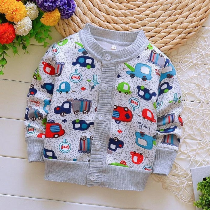 Casual Knitted Cardigan Unisex Sweater Infant - blue car / 6-9 months