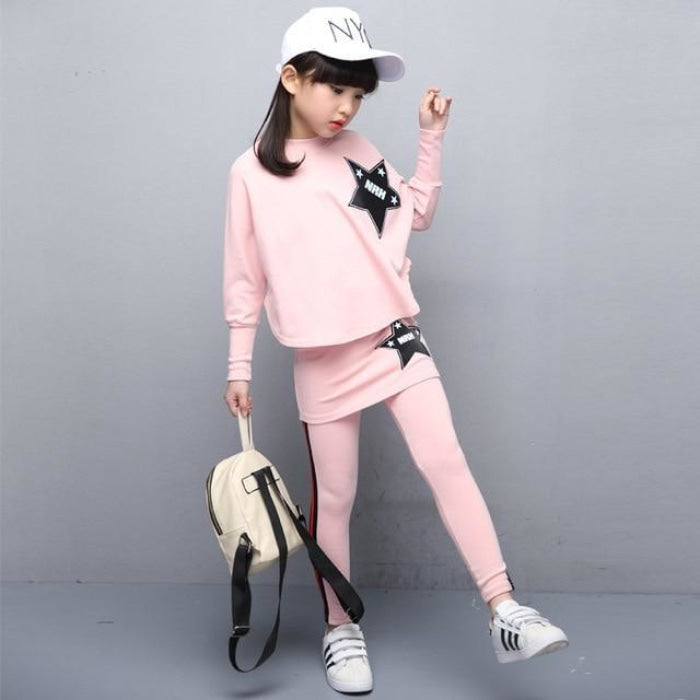 Casual Solid Coat Skirt Set for Girls