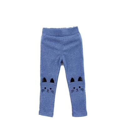 Cat Print Skinny Warm Pants/Leggings with Pockets - Blue / 2-3 years