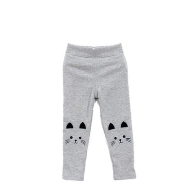 Cat Print Skinny Warm Pants/Leggings with Pockets - Gray / 2-3 years