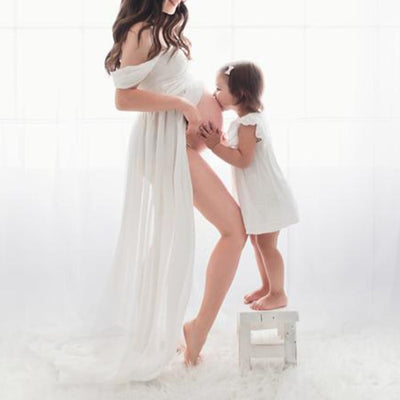 Chiffon Maternity Strapless Solid White Dresses for Photo Shoot - L