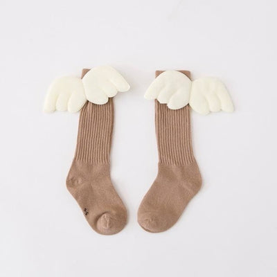 Children Knee-length Socks with Angel Wings  - Khaki / 2-3 years