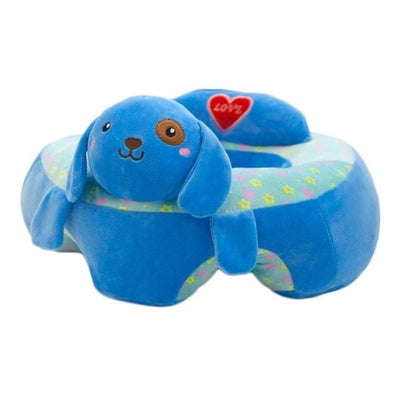 Childrens Plush Learning Sofa Seat with Cartoon Pattern - Deep Blue
