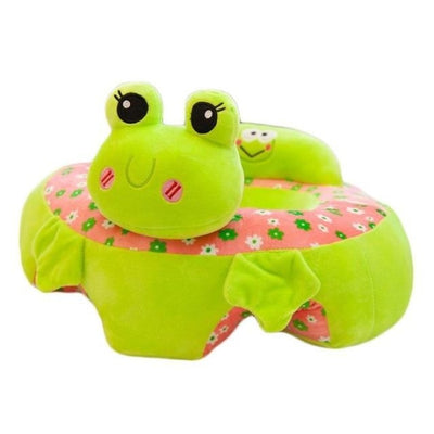 Childrens Plush Learning Sofa Seat with Cartoon Pattern - Light Green