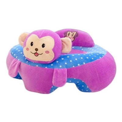 Childrens Plush Learning Sofa Seat with Cartoon Pattern - Plum