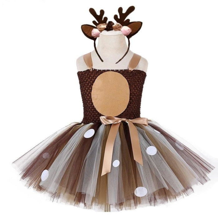 Christmas Deer Tutu Party Costume Dress for Baby Girls
