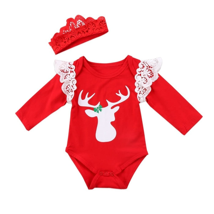 Christmas Newborn Baby Girls Deer Lace Jumpsuit
