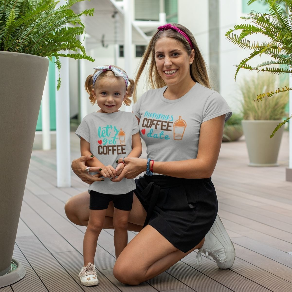 Coffee Mommy's date Matching Shirts for Mom Daughter - 18-24 months Kid Shirt / Gray