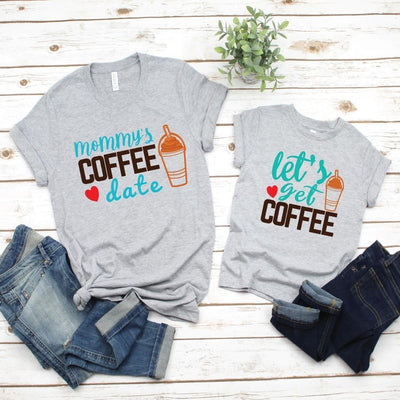 Coffee Mommy's date Matching Shirts for Mom Daughter - Mom S Shirt / Gray