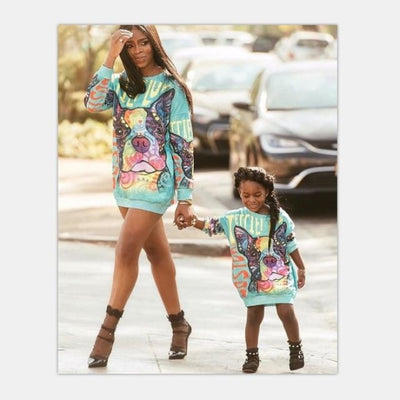 Colorful Pug Matching Sweatshirts for Mother Daughter - picture / Mom M