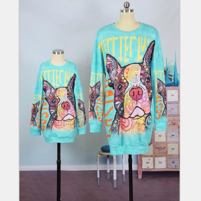 Colorful Pug Matching Sweatshirts for Mother Daughter