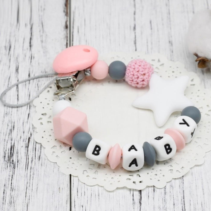 Colorful Silicone Baby Pacifier Chain with Personalised Name for Teeth Soothing
