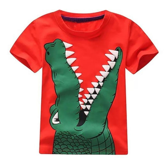 Cool Alligator Cartoon T-shirt for Kids Unisex