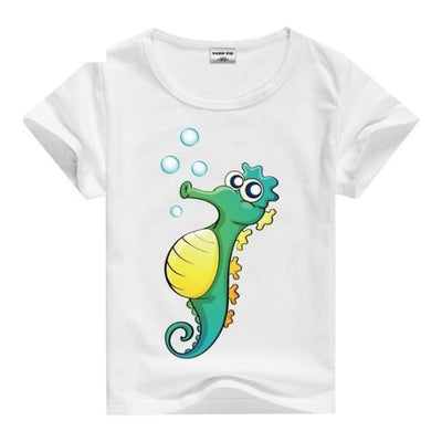 Cool Animal Summer Short Sleeve T-Shirt Kids Unisex - Sea Horse / 2-3 years