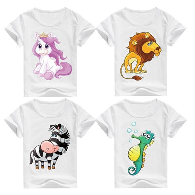 Cool Animal Summer Short Sleeve T-Shirt Kids Unisex