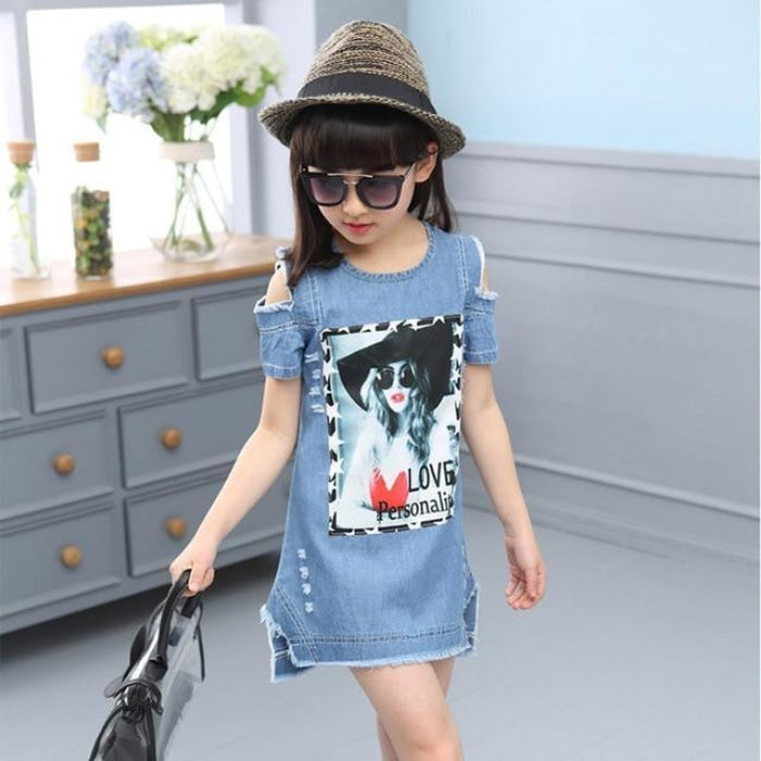 Cool Casual Denim Print Strapless Dress for Girls