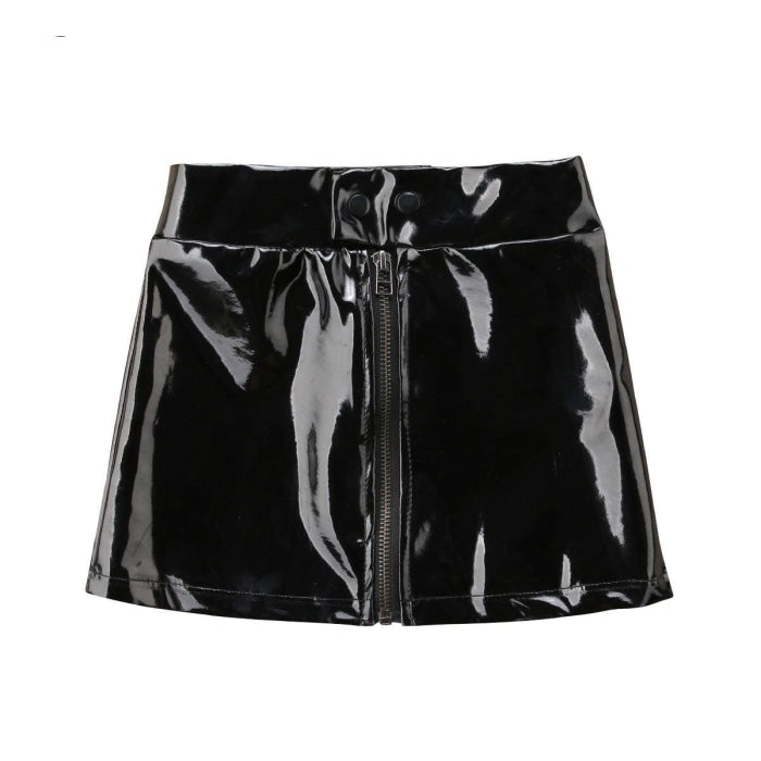 Cool Faux Leather Zippered Skirt for Girls