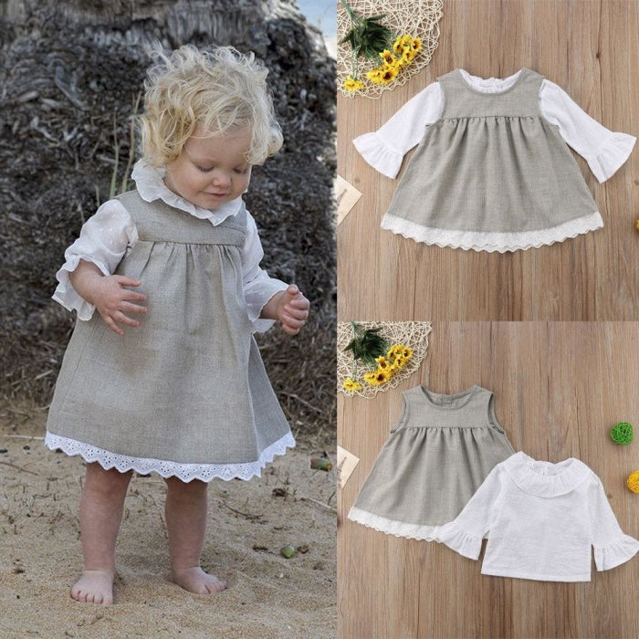 Cool Gray Pretty Dress for Infant Girls