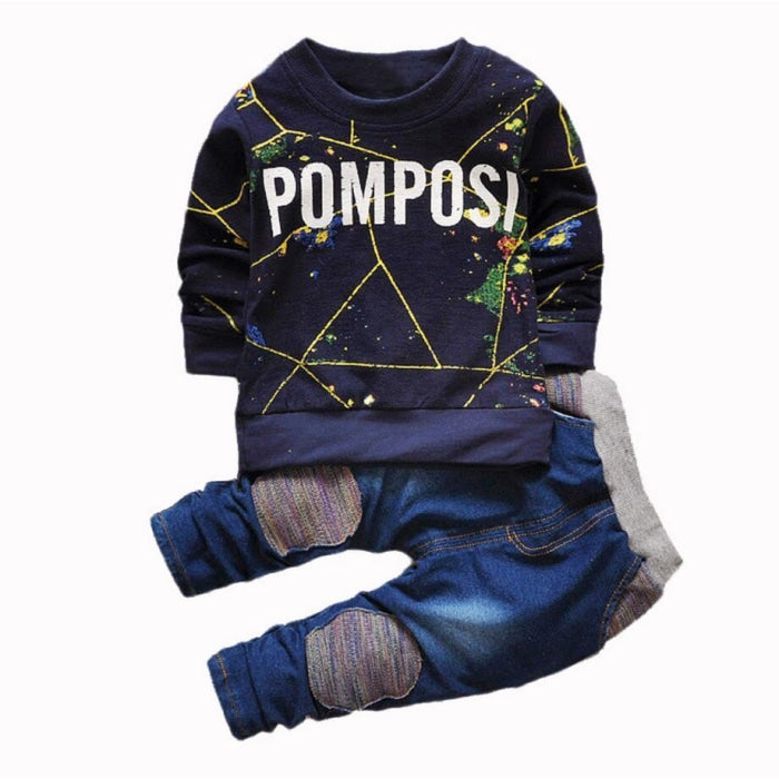 Cool Long sleeve Shirt Denim trouser set for Boys