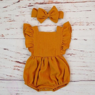 Cotton Jumpsuit with Headband for Baby Girl - Orange / 9-12 months