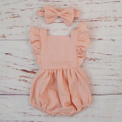Cotton Jumpsuit with Headband for Baby Girl - Pink / 0-3 months