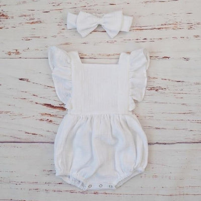 Cotton Jumpsuit with Headband for Baby Girl - White / 9-12 months