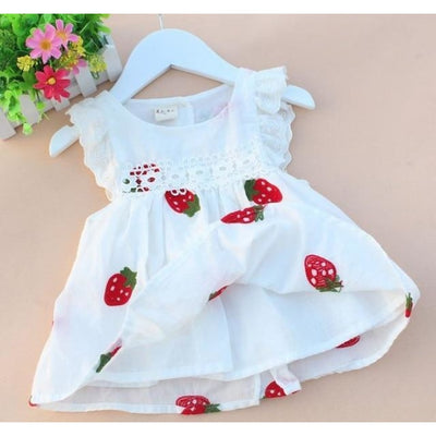 Cotton Short Sleeve White Dress for Baby Girls - White / 1-3 months