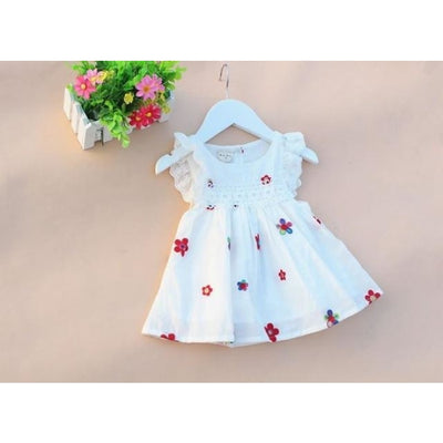 Cotton Short Sleeve White Dress for Baby Girls - White 2 / 1-3 months
