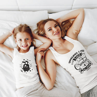 Created Monster Mom Daughter Son Matching Shirt Onesie - 18-24 months Kid Tank Top / White
