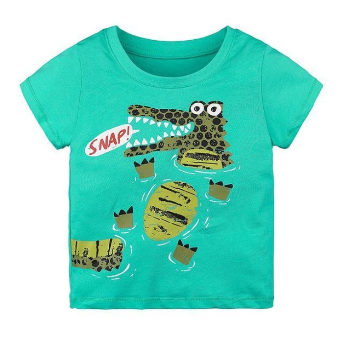 Crocodile Snap Cartoon T-Shirt Kids Unisex - Green / 2-3 years