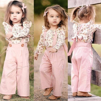 Cute (2PCS) Floral Winter Tops+Pants set for Girl - Pink / 3-4 years