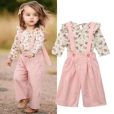 Cute (2PCS) Floral Winter Tops+Pants set for Girl