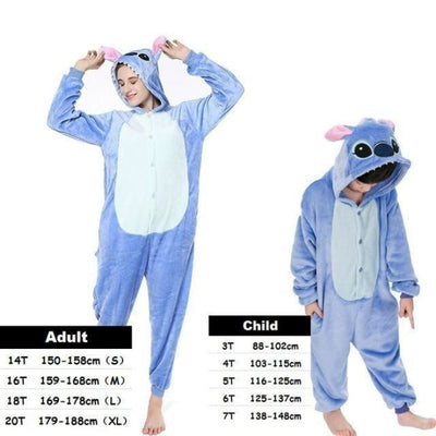Cute Animal Cartoon Pajama Sleepwear Set for Boys & Girls - blue stitch / 2-3 years