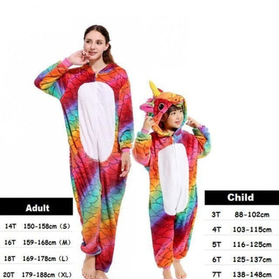 Cute Animal Cartoon Pajama Sleepwear Set for Boys & Girls - fish-scales zipper / 2-3 years