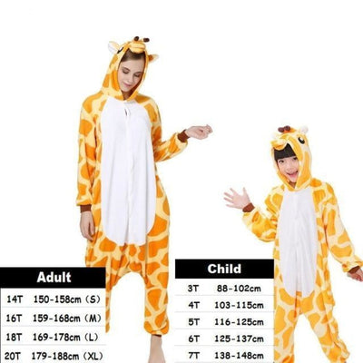 Cute Animal Cartoon Pajama Sleepwear Set for Boys & Girls - giraffe / 2-3 years