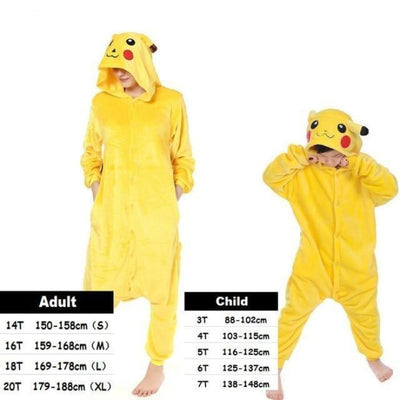 Cute Animal Cartoon Pajama Sleepwear Set for Boys & Girls - pikachu / 2-3 years