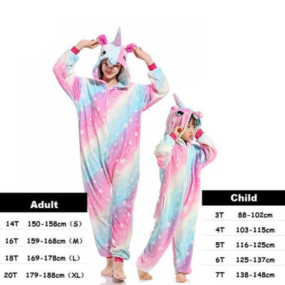 Cute Animal Cartoon Pajama Sleepwear Set for Boys & Girls - pink star / 2-3 years