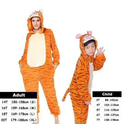 Cute Animal Cartoon Pajama Sleepwear Set for Boys & Girls - tigger / 2-3 years