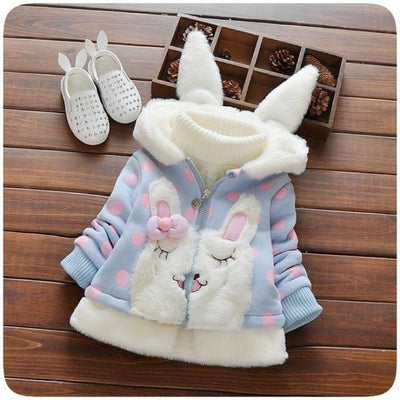 Cute Animal Pattern Hoodie Jacket for Girls - Blue / 18-24 months