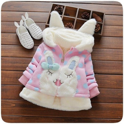 Cute Animal Pattern Hoodie Jacket for Girls - Pink / 18-24 months