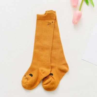 Cute Animal pattern Socks set for Kids Babies - Mustard / 1-3 years