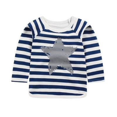 Cute Animal Printed Unisex T-shirt - Blue Striped / 6-9 months