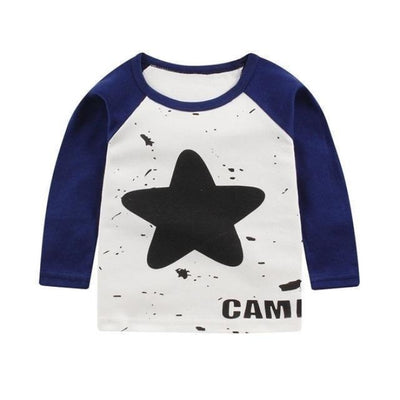 Cute Animal Printed Unisex T-shirt - Navy Blue Star / 6-9 months