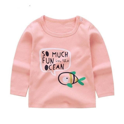 Cute Animal Printed Unisex T-shirt - Pale Pink 3 / 6-9 months