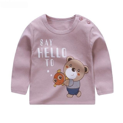 Cute Animal Printed Unisex T-shirt - Pale Pink / 6-9 months