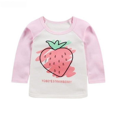 Cute Animal Printed Unisex T-shirt - Pink Strawberry / 6-9 months